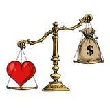 Hjärta och pengar på våg Överviktig säck för förälskelse av dollar vektor stock illustrationer
