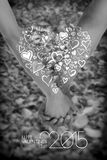Hjärta och penna Arkivfoton
