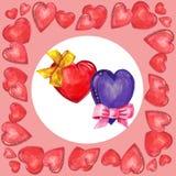 Hjärta och pilbåge, vattenfärg Arkivbilder