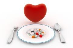 Hjärta och preventivpillerar på plattan vektor illustrationer