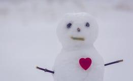 Hjärta och snögubbe lycklig s valentin för dag Royaltyfria Foton