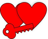 Hjärta- och tangentgemkonst Royaltyfri Bild