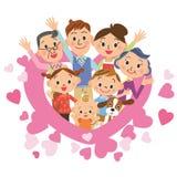 Hjärta och tre-utveckling familj Royaltyfri Fotografi