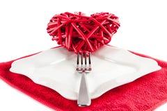 Hjärta på en gaffel Royaltyfri Bild