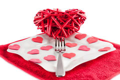 Hjärta på en gaffel Royaltyfria Bilder