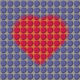 Hjärta på en perforerad purpurfärgad bakgrund Arkivfoto
