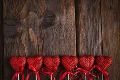 Hjärta på en pinne för valentin dag Fotografering för Bildbyråer