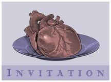 Hjärta på en platta (inbjudankortet) Arkivbild