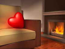 Hjärta på en sofa Royaltyfri Foto