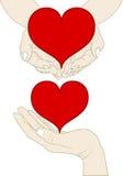 Hjärta på handen Arkivfoto