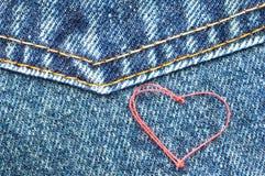 Hjärta på jeans Royaltyfri Bild