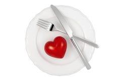 Hjärta på plattan Royaltyfri Bild