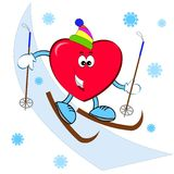 Hjärta på skidåkningen Royaltyfria Foton