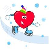 Hjärta på skidåkningen Royaltyfri Bild