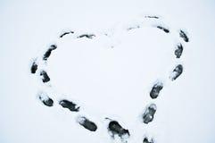 Hjärta på snön Royaltyfria Foton