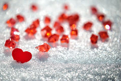 Hjärta på snow royaltyfri foto