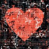 Hjärta på svart bakgrund med Grungeeffekt stock illustrationer