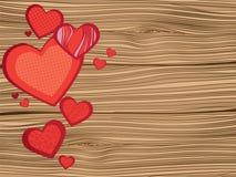 Hjärta på träplankatextur Arkivbild