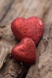Hjärta på wood bakgrund Royaltyfri Fotografi