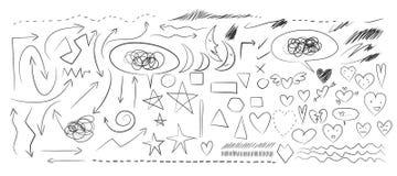 Hjärta pil, för beståndsdelvektor för måne hand dragen illustration för uppsättning stock illustrationer