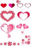 Hjärta rött som är rosa, ramar, bollar som är uppblåsbara i form av hjärtor, olika färgrika hjärtor, blommor, härliga hjärtor, in Arkivfoto