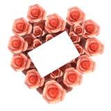 Hjärta Shape för shower för gåvakort och flora Arkivfoto
