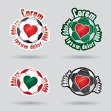 Hjärta shped klassisk logo för fotboll (boll) Royaltyfria Bilder