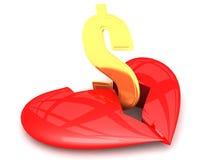 Hjärta som är bruten vid pengar Royaltyfri Fotografi