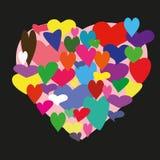 Hjärta som består av sertsets på den svarta fyrkanten royaltyfria foton