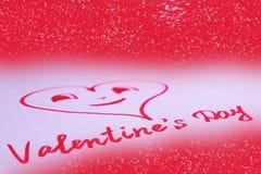 Hjärta som dras på kortet för dag för valentin` s Arkivbild