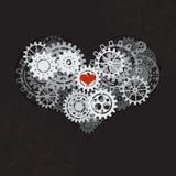 Hjärta som en mekanism som göras av kuggar och kugghjul Vektorillustration av steampunkhjärta tillgänglig vektor för valentiner f stock illustrationer