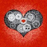 Hjärta som en mekanism som göras av kuggar och kugghjul Vektorillustration av steampunkhjärta Valentindagkort med tecknet på stock illustrationer