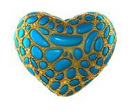 Hjärta som göras av guld- glänsande metallisk 3D med isolerat blått exponeringsglas på vit bakgrund Royaltyfri Foto
