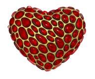Hjärta som göras av guld- glänsande metallisk 3D med isolerat rött exponeringsglas på vit bakgrund vektor illustrationer