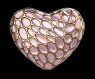 Hjärta som göras av guld- glänsande metallisk 3D med isolerat rosa exponeringsglas på svart bakgrund Arkivfoto