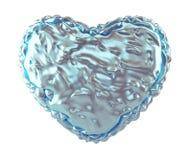 Hjärta som göras av skrynklig isolerad silver- och blåttfolie på vit bakgrund 3d Royaltyfri Illustrationer