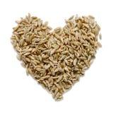 Hjärta som göras från isolerat korn på vit bakgrund arkivfoton