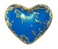 Hjärta som göras i guld- glänsande metallisk 3D med isolerad blåttmålarfärg på vit bakgrund fotografering för bildbyråer