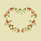 Hjärta som inramas av blommor också vektor för coreldrawillustration Arkivbild