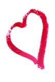 Hjärta som målas med läppstift Arkivbilder