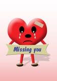 hjärta som missa dig Arkivbild