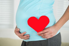 hjärta som rymmer den gravida formkvinnan royaltyfria bilder