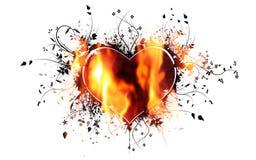 Hjärta som slås in i flammor Fotografering för Bildbyråer