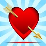 Hjärta som trängas igenom av en pil som är post- till dagen av helgonet Valentin Arkivbild