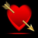 Hjärta som trängas igenom av en pil som är post- till dagen av helgonet Valentin Royaltyfri Fotografi