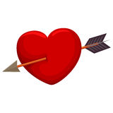 Hjärta som trängas igenom av pilen Arkivfoton