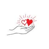 Hjärta som två är förälskad i din hand Stark familjsymbol Räddningförälskelsetecken Arkivfoto