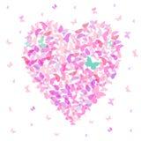 Hjärta - sommarbaner, kortdesign, färgrik rosa fjäril på vit bakgrund vektor vektor illustrationer