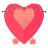 Hjärta stickas av två bollar Trendiga färger av korallfärg vektor illustrationer