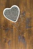 Hjärta sunda Chia Seeds Vertical Fotografering för Bildbyråer